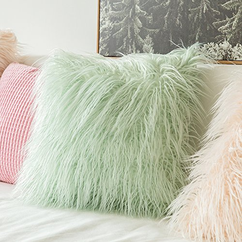 MIULEE Decorative New Luxury Series Style Green Faux Fur Throw Pillow Case Cushion Cover for Sofa Bedroom Car 18 x 18 Inch 45 x 45 Cm by MIULEE (Image #3)
