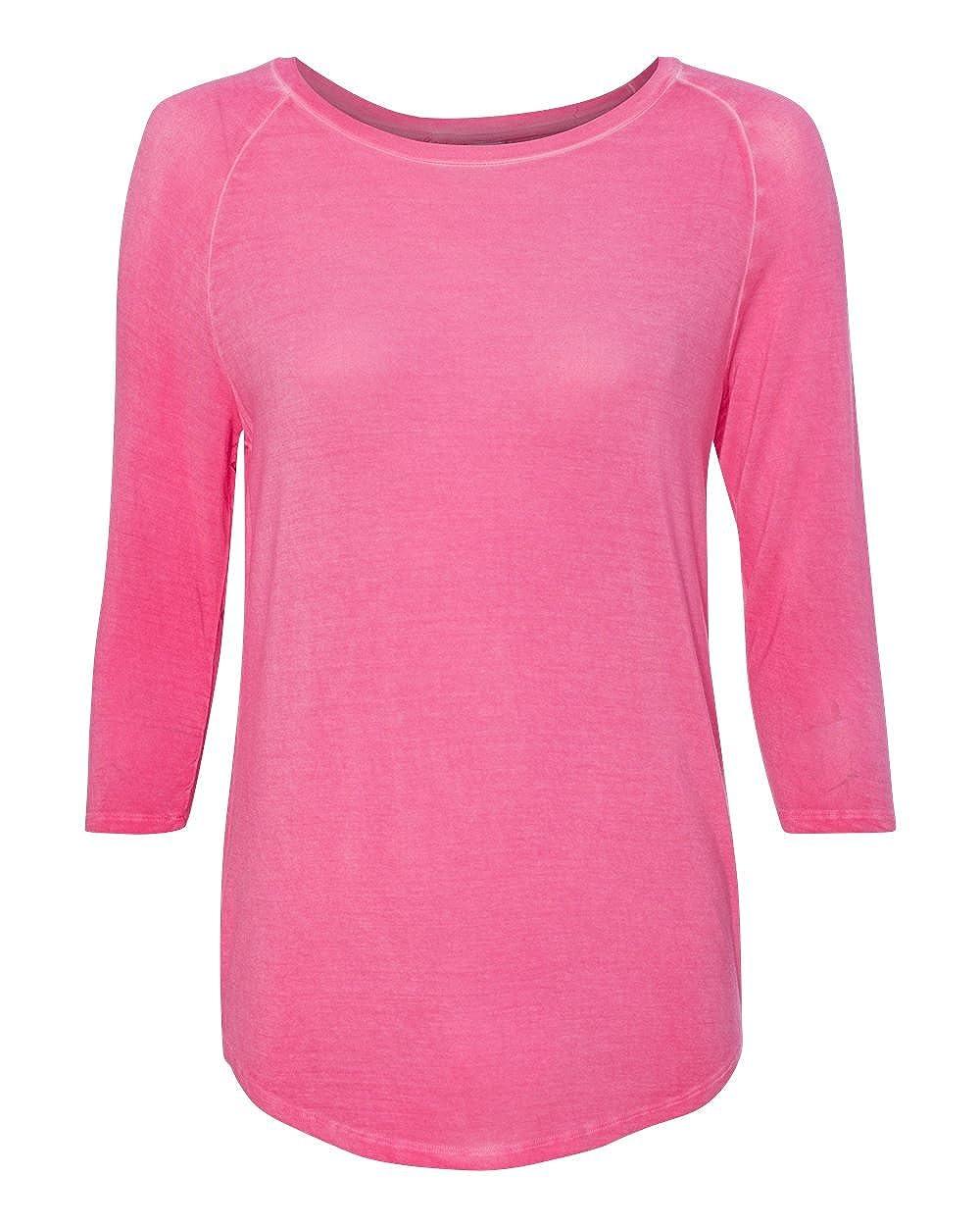 J America womens Oasis Wash 3//4-Sleeve Tee JA8232