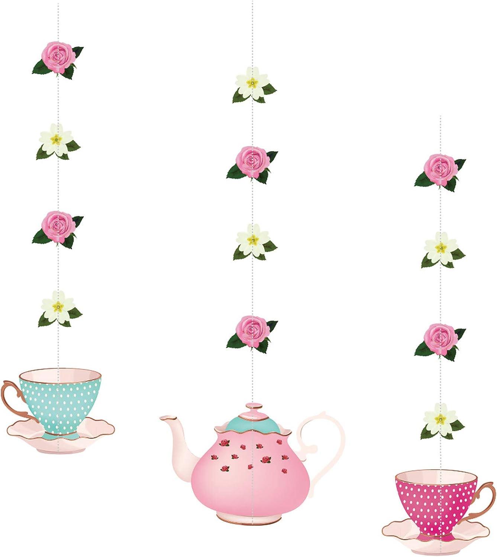 Bomcan 6Ct Floral Tea Party Hanging Decorations, Teapot Teacup Flower Hanging Garlands for Tea Birthday Party, Baby Shower, Girls Birthday Party Supplies