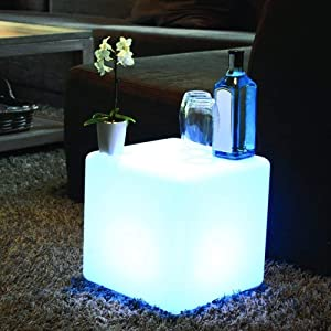 ENAL1 Remote Control Led Illuminated Furniture Bar Led Cube Seat Chair Night Light Outdoor Bar Stools Plastic Table Lamps Rechargeable Night Lighting Adjustable 16 RGB Colour Changing Mood Light