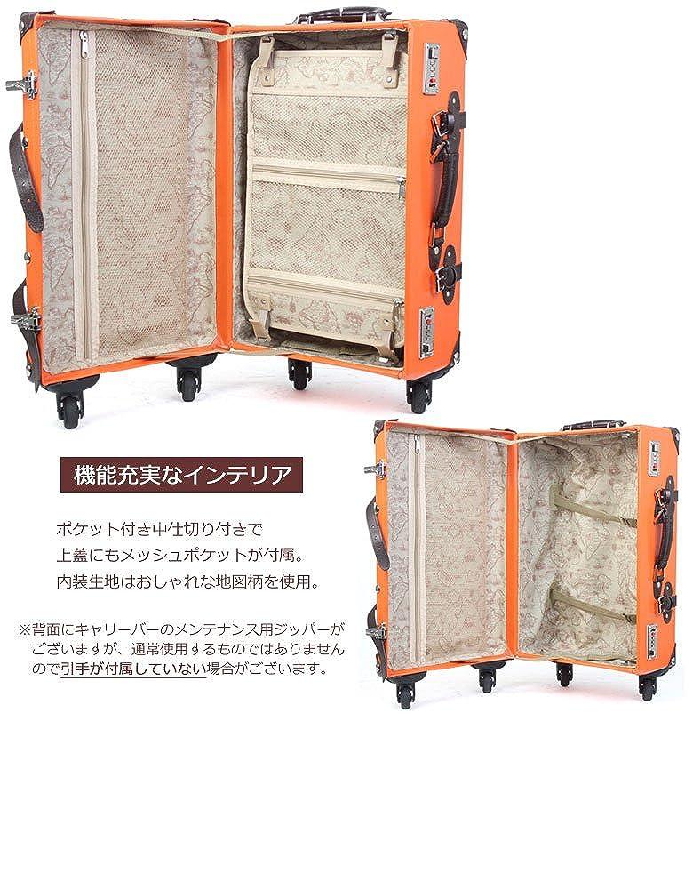 47a468ca7f Amazon | highstyle レトロ調トランクケース 4輪 ダブルダイヤルロック式 トランクキャリーケース 26リットル  (オレンジ/ブラウン) | T&S | スーツケース