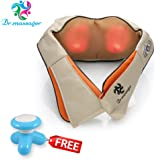 Dr. Massager Shiatsu Neck & Back Massager with Heat - Shoulder Pain - Foot Massager - Kneading Massage Therapy Pillow With Heat - Relieves Sore Muscles - Includes FREE GIFT - Mini Massager