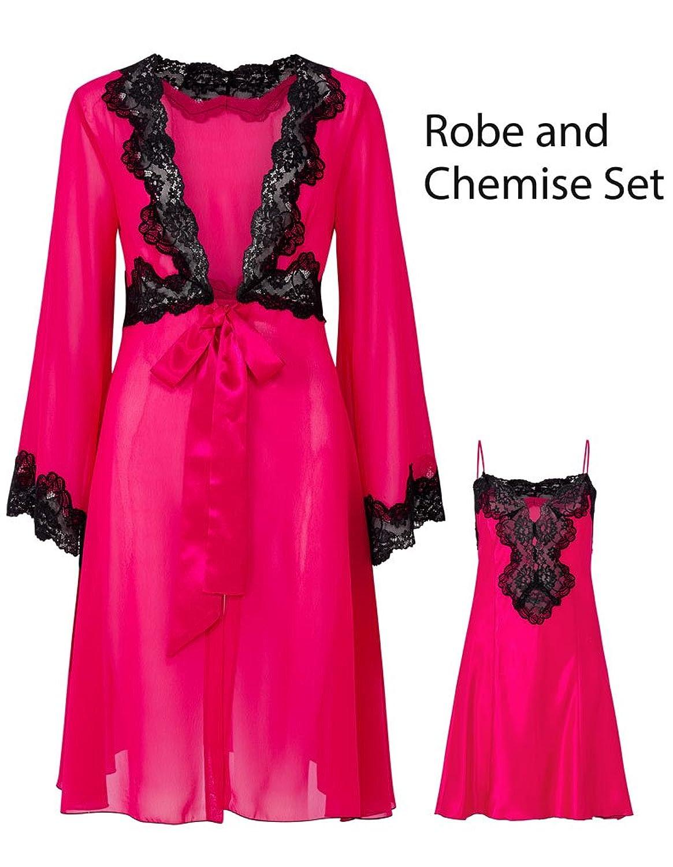 "Slenderella Gaspe Raspberry Pink 36"" Satin Chemise With Chiffon Robe Set GL6740"