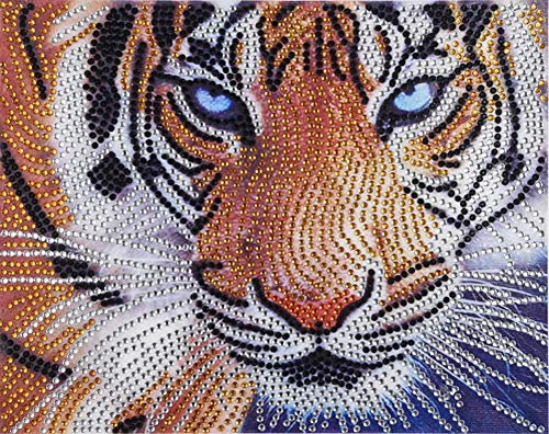 (Diamond Painting DIY 5D Special Shape Rhinestones, ABEUTY Fiercely Tiger &Tiger Head, Partial Drill Crystal Diamond Dotz Kits)