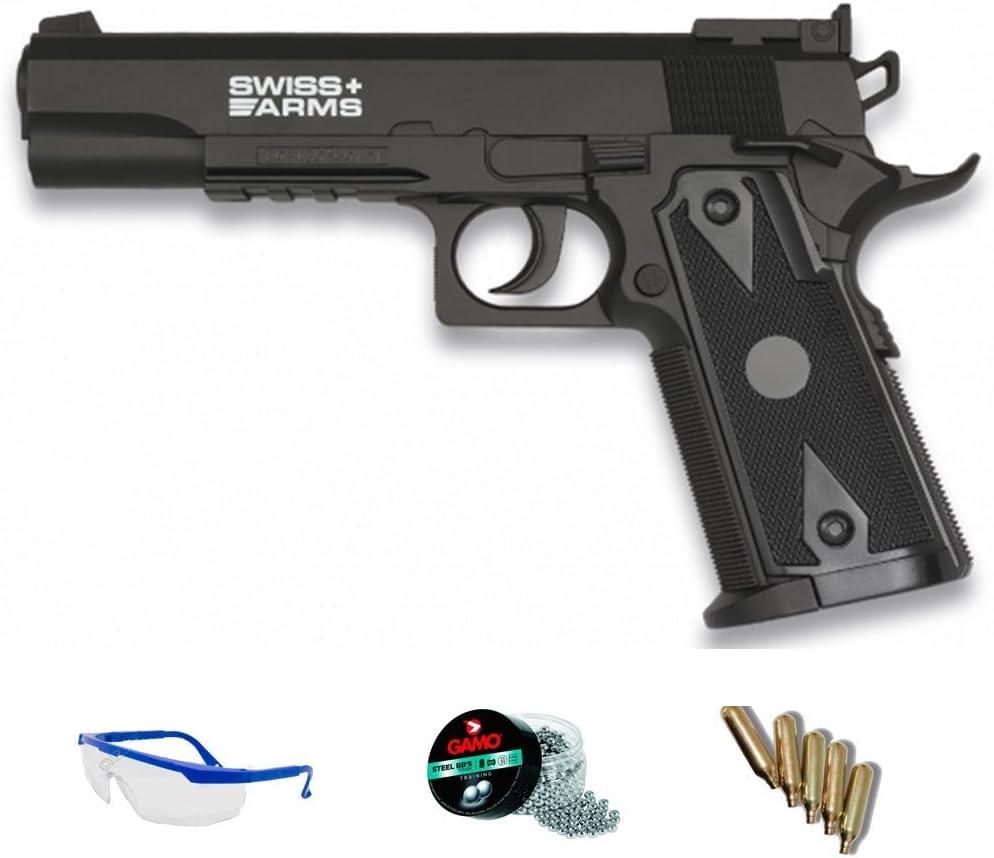 PACK pistola de aire comprimido Swiss Arms 1911 - Arma de CO2 y balines BBs (perdigones de acero) <3,5J