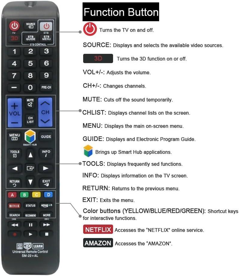 gvirtue mando a distancia compatible de repuesto para Samsung bn5901178 W mando a distancia (3d/Smart TV/HDTV/LCD/LED/TV), aplicable un46h6203af, un50h5203af un50h6201af, un50h6203af, un55h6203af, un55hu6830 F: Amazon.es: Electrónica