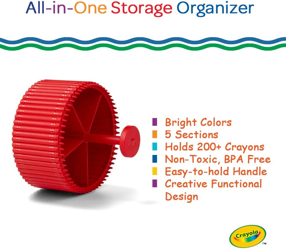 Pencils Creative Kids Desk Organizer With 5 Sections For Storing Pens Red Crayons And Other School//Office Supplies Kids 3+ Years Crayola Round Storage Organizer