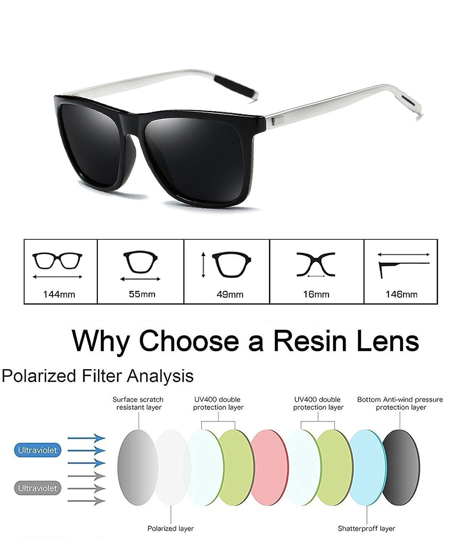 wearPro Sunglasses Mens Retro Vintage Polarized Sun Glasses WP1003 (black/gun, 2.16)