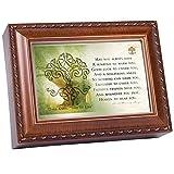 Irish Prayer Cottage Garden Wood Grain Finish Jewelry Music Box - Plays Song Irish Lullaby