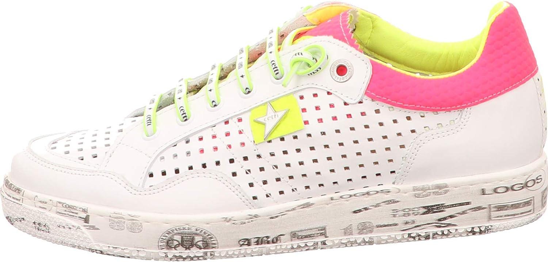 Cetti sneaker, kleur: Sweet White-Fucsia-Yellow wit