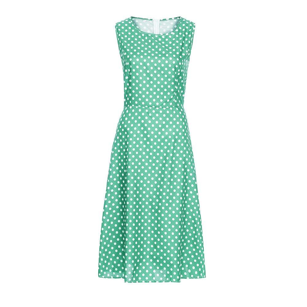 Seaintheson Women Dress Womens Dot Sleeveless Hebburn Vintage Dress Elegant Floral Midi Evening Dress A Line Sundress