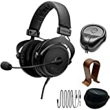 BeyerDynamic MMX 300 PC Gaming Digital Headset with Microphone 2nd Generation 32 Ohms (718300) with Slappa HardBody PRO Full Sized Headphone Case Black & Universal Wood Headphone Stand
