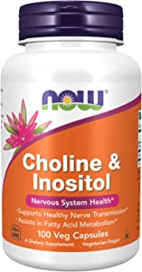 NOW Supplements, Choline & Inositol 500 mg,Healthy Nerve Transmission*, Nervous System Health*, 100 Capsules