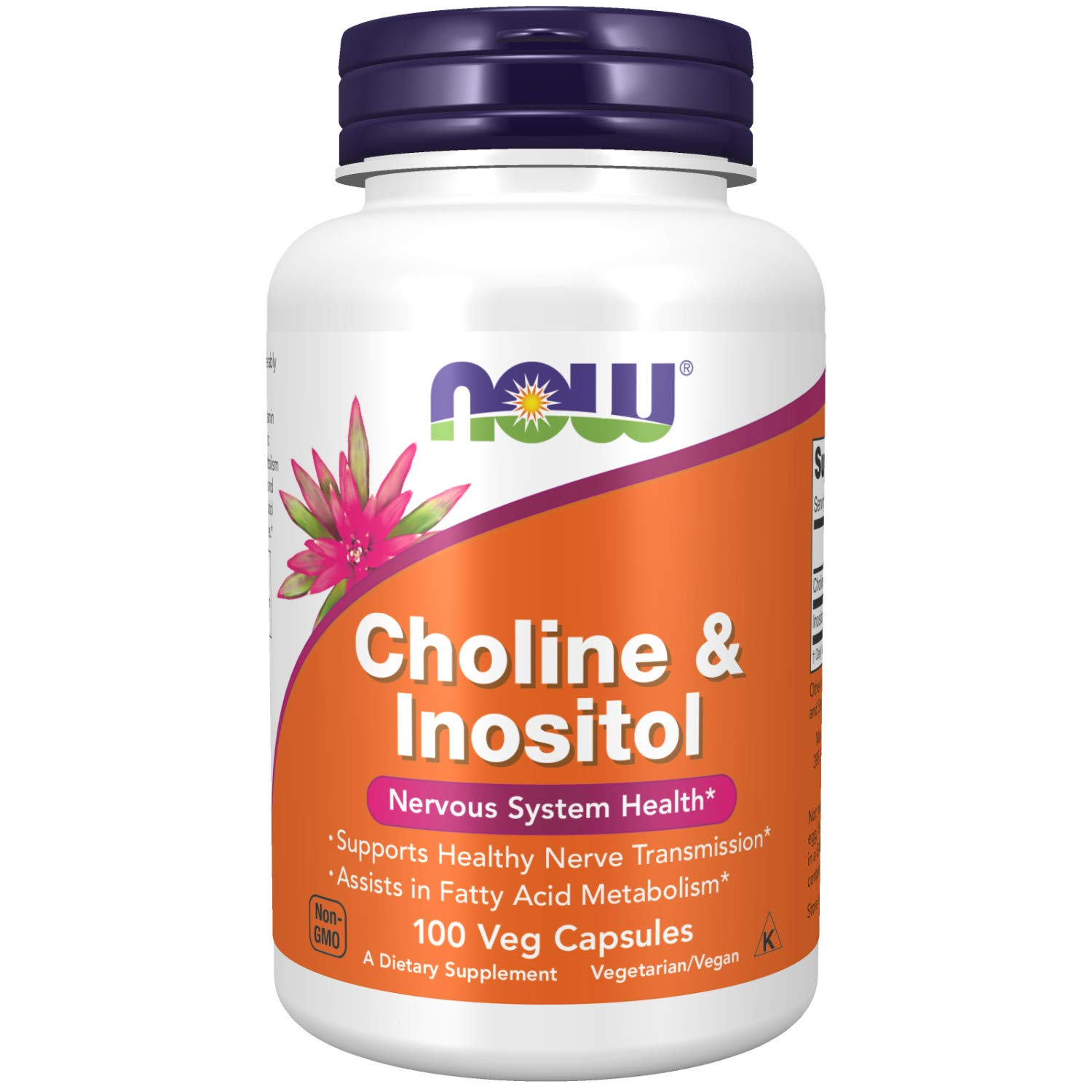 NOW Supplements, Choline & Inositol 500 mg, Healthy Nerve Transmission*, Nervous System Health*, 100 Capsules