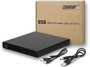 OSGEAR USB 2.0 Slim External 8x DVDRW DVD CD RW ROM Burner Writer Drive Mac PC Box Laptop Desktop Tray Loading Portable Enclosure Housing Caddy Case