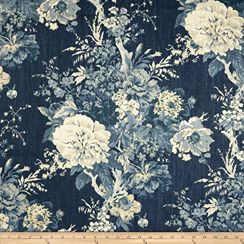 WAVERLY Ballad Bouquet Blue Fabric, - Waverly Ballad Bouquet