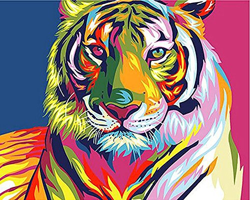 Abstract Cartoon Animals DIY Digital Oil Painting by Numbers Kit with Acrylic Paints Paint on Canvas for Adults and Kids (Unframed, Colorful Tiger)