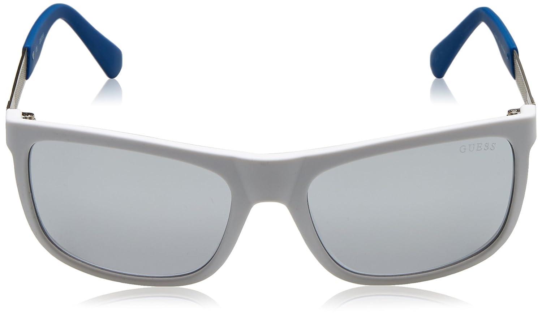 Guess GU6843, Occhiali da Sole Uomo, Bianco/Blu, 57