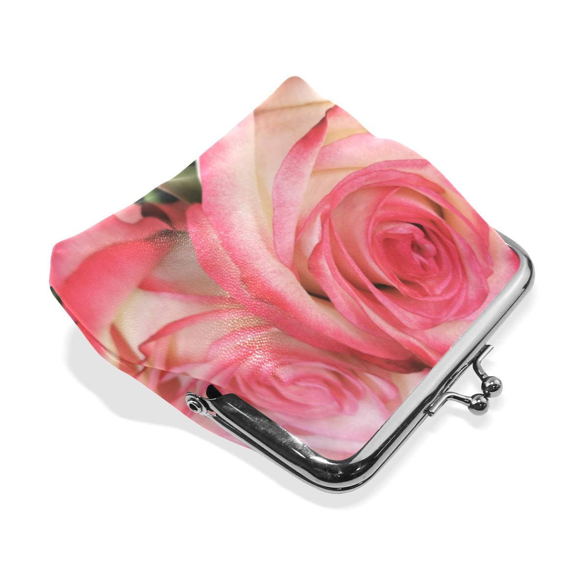 CLveg Coin Purse Card Package Coin Leather for Women Printing Series White Pink Roses