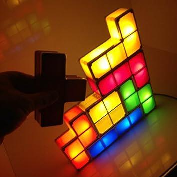 TRURENDI 7 Pieces Cubes Tetris Desk Table LED Lamp DIY Puzzle Stackable  Game Style Funny Light