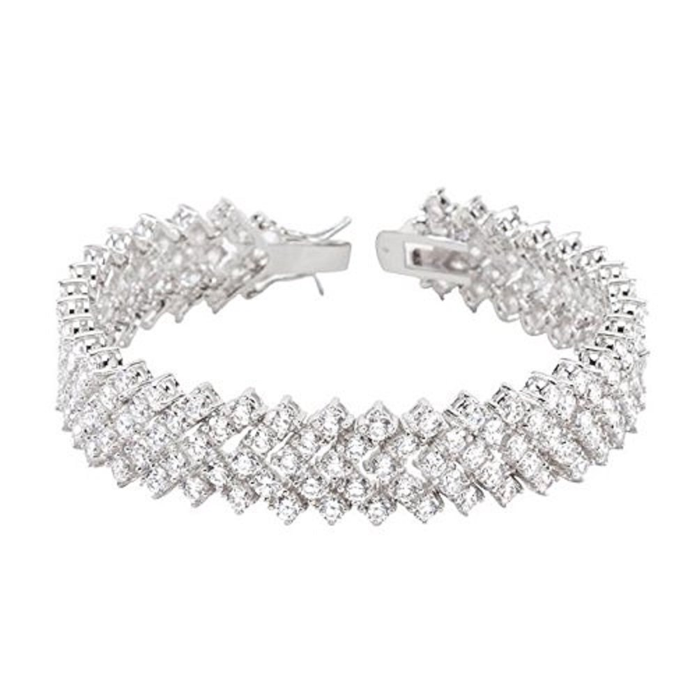 WildKlass Chevron Cubic Zirconia Tennis Bracelet