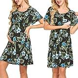 Pasttry Women's Flower Print V-Neck Short Sleeve Wrap Maternity Dress for Breastfeeding Black M