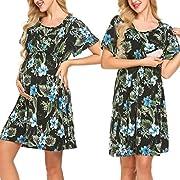 Pasttry Women's Nursing Friendly Short Sleeves Floral Wrap Maternity Nursing Dress Black L