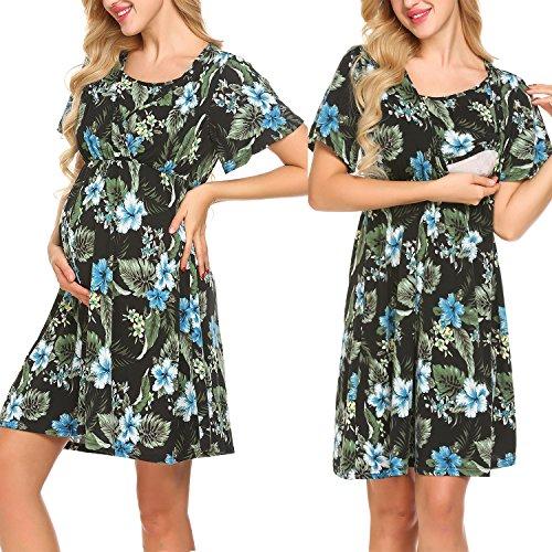 Pasttry Women's Flower Print V-Neck Short Sleeve Wrap Maternity Dress for Breastfeeding Black M by Pasttry