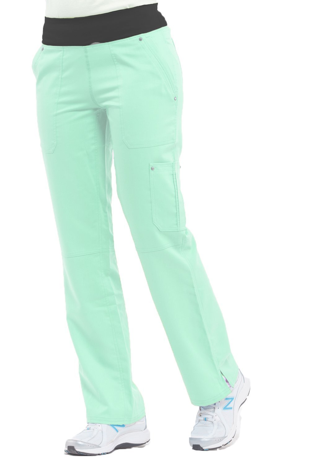 Purple Label Yoga Women's Tori 9133 5 Pocket Knit Waist Pant by Healing Hands- Mint- 2X-Large