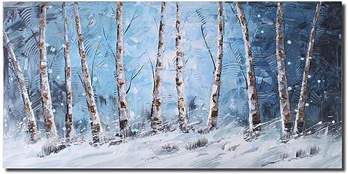 Aspen Birch Tree Abstract Oil Painting Modern Handmade Canvas Wall Art for Home Decor Artworks Blue