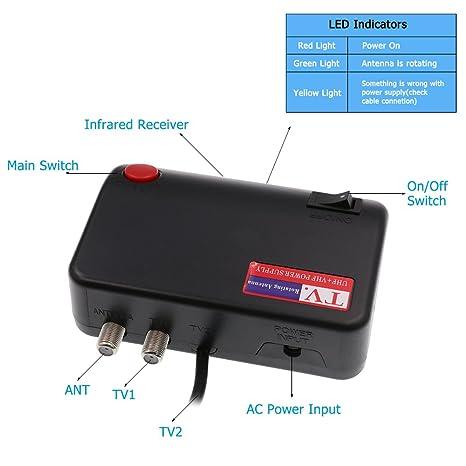USB Power Supply, Vansky USB Power Supply for Digital Outdoor TV Antenna  150 Miles Range with Motorized 360 Degree Rotation,Black