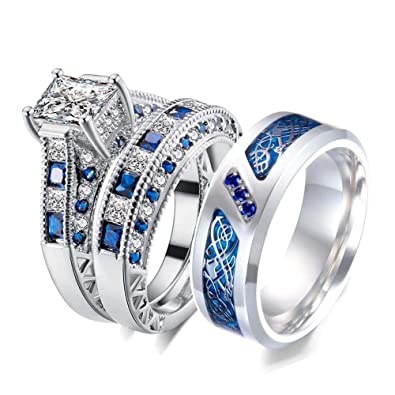 Amazon Com 3pc Two Rings His And Hers Couple Rings Bridal Sets His