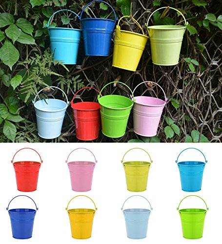 Flower Pots , RIOGOO Hanging Flower Pots, Garden Pots Balcony Planters Metal Bucket Flower Holders - Portable Style ( 8 PCS ) (Hanging Small Exterior)