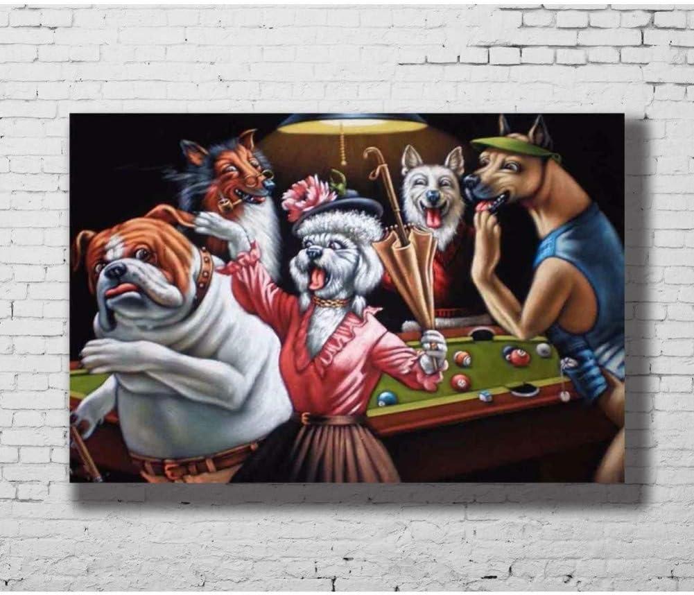 EBONP Pintura decoración Pared Arte Perros Animales Jugando Billar ...