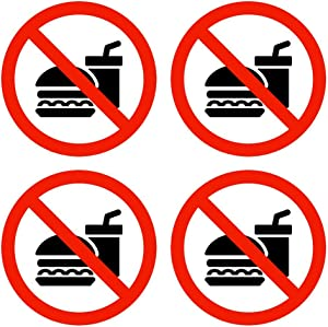 dealzEpic - No Food or Drink Sign/No Food or Drinks Allowed Symbol | Self Adhesive Vinyl Decal Sticker | Pack of 4 Pcs