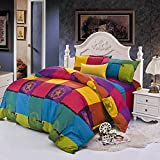 HOLY HOME Duvet Cover Set Microfiber Super Soft Hygroscopic Comfortable Skin-care Urban Life Rhyme Theme Hypoallergenic Bedclothes 4 Pieces Queen Size: 86''x94'' Villa Town Blue/Yellow/Red