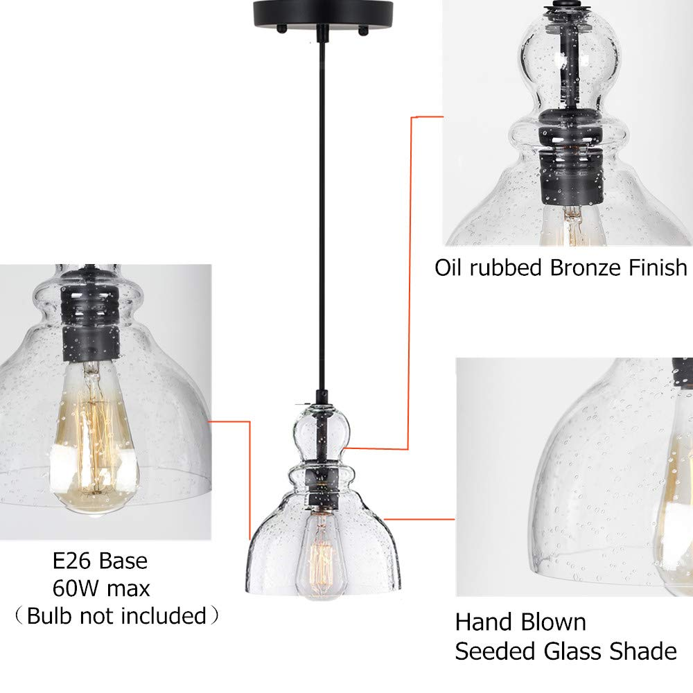 LAMPUNDIT Industrial Glass Seeded Mini Pendant Lighting,Adjustable 1-Light Ceiling Light Fixture with Oil-Rubbed Bronze Finish Farmhouse Hanging Lamp
