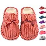 Cityelf Women's Plush Cotton House Slippers Coral Velvet Lining Memory Foam Indoor Slip on