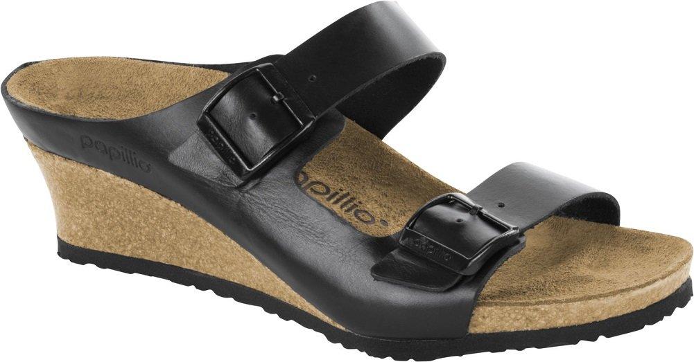 Papillio Womens Emina Wedge Sandal B076KYVVK2 37 EU (6.5-7 N US Women)|Black Leather