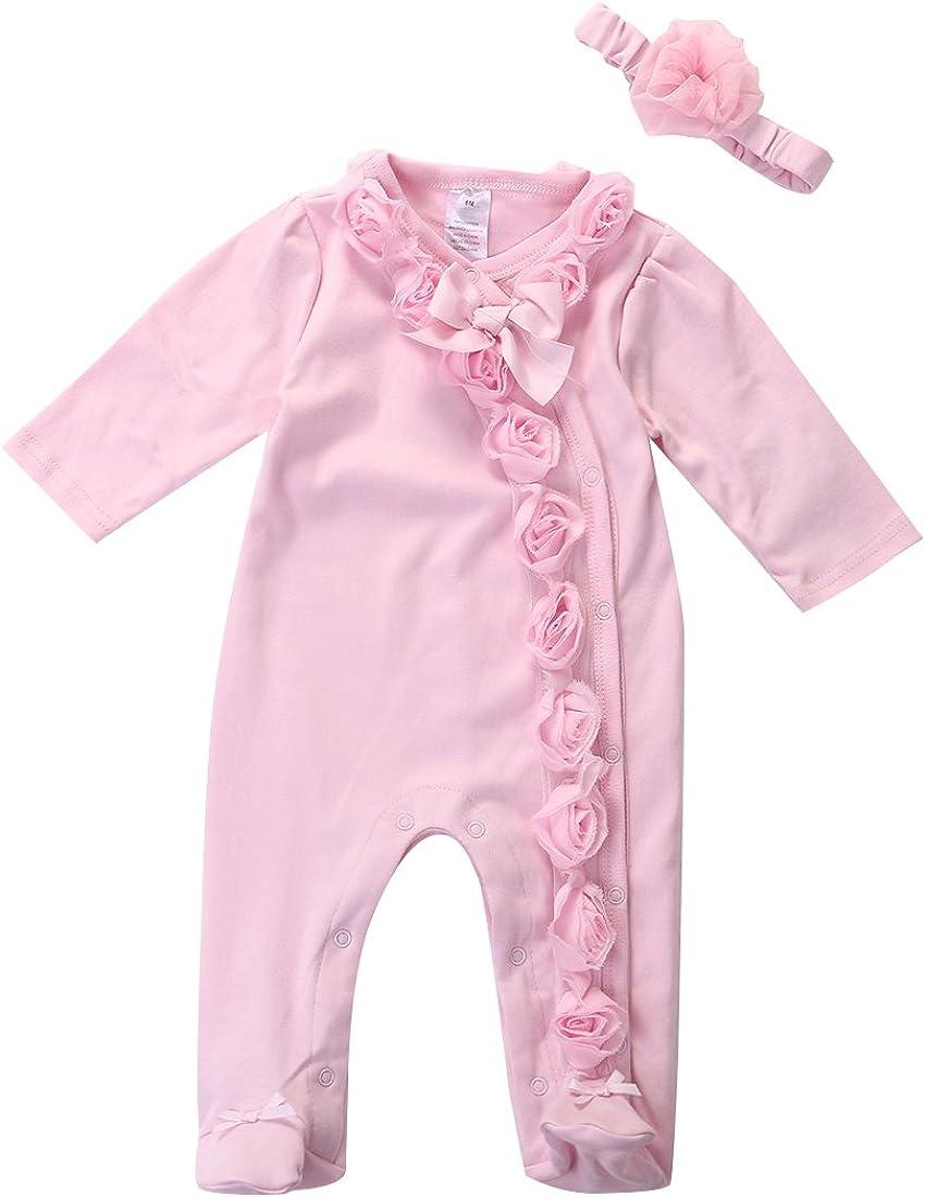 Newborn Baby Girl Long Sleeve Lace Floral Footies Headband Set Sleepwear Romper Jumpsuit Infant Pajamas