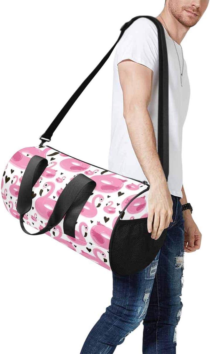 INTERESTPRINT Flamingos and Black Hearts Travel Duffle Bag Sports Lightweight Luggage Duffel