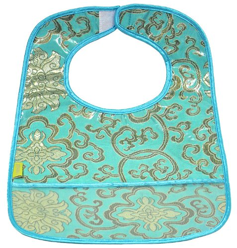 I Frogee Brocade Baby Bibs in Skyblue Fortune Flower Print