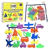 3 Bees & Me Bath Toys and Bath Organizer Set - 20 Foam Toys for Boys & Girls plus Storage Net