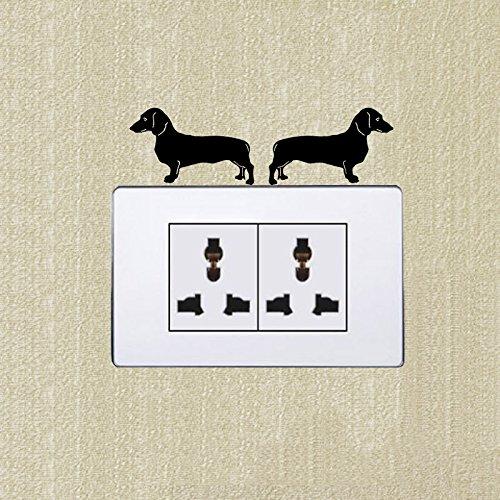 Teckel (gauche & droite) mignon chien Interrupteur autocollant décoration mural Lot de 2autocollants SS 0666 KGTHSS
