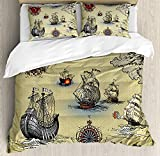 Compass 4 Pieces Bedding Set Twin, Antique Old Plan Discovery Ship Pirate Wave Compass Navigation Geography Theme Duvet Cover Set Decorative Bedspread for Childrens/Kids/Teens/Adults, Beige Red Grey