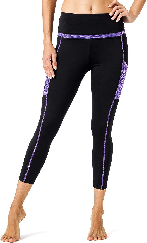 TrinhGuo Women High Waist Capri Yoga Pants Side with Pocket Workout Running Leggings