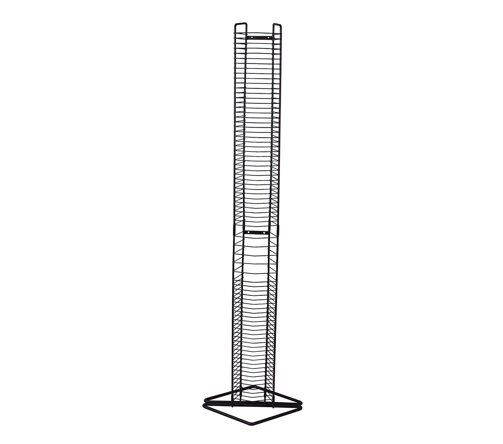 Wood & Style Office Home Furniture Premium Onyx 35 CD Tower Matte Black Steel by Wood & Style
