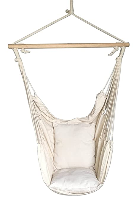 SueSport Hanging Rope Hammock Chair Porch Swing Seat Sky Chair With  Cushions For Any Indoor Or