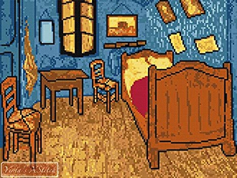 La camera da letto (V2) Van Gogh kit punto croce: Amazon.it: Casa e ...