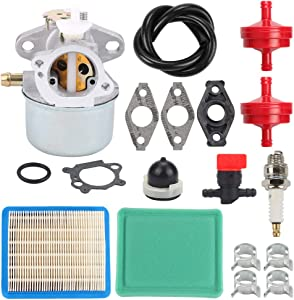 Highmoor 799869 Carburetor Carb + Tune Up Kit Air Filter for Briggs and Stratton 499059 792253 497586 122L02 122T02 126T02 126T05 126T07 122K02 123K02 125K02 Engines